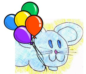 sylvestermouse with balloons