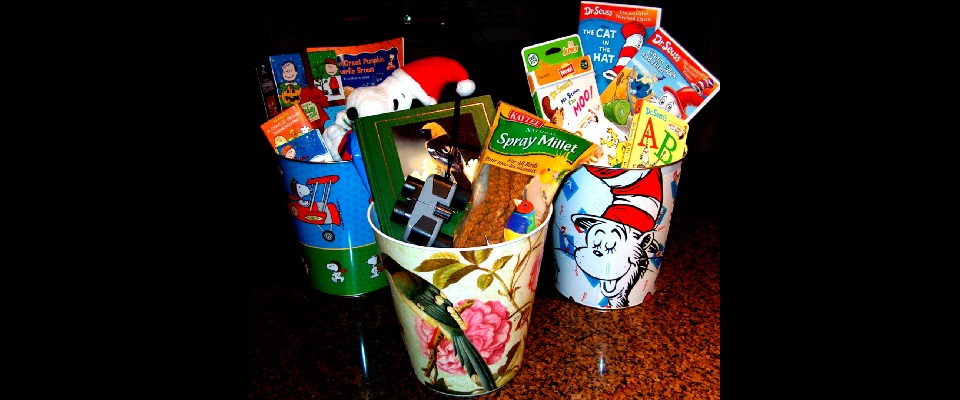Using a Decorative Trash Can as a Gift Basket