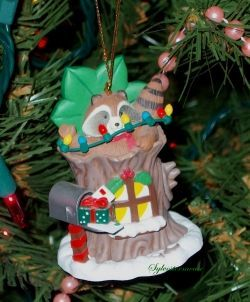 Raccoon Christmas tree ornament